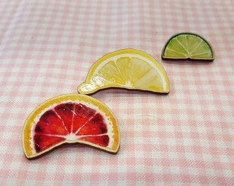 Zesty Watercolor Citrus Wood Pin