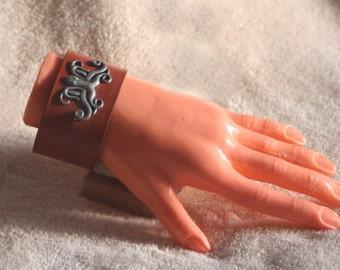Leather Bracelet pewter octopus decoration