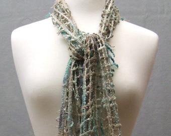 Hand Felted Lattice Scarf, Hand Dyed Silk Merino Wool, Beaded Scarf, Turquoise Sand Beach