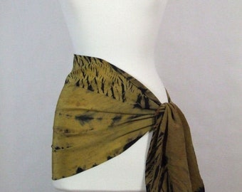 Long Scarf Silk Crepe, Hand Dyed Shibori, Gold Ombre Black, Ancient Relic Collection, Ready to Ship