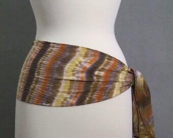 Silk Scarf Hand Dyed Shibori, Boho Autumn Stripe, Pumpkin Toffee Gold Brown Crepe de Chine