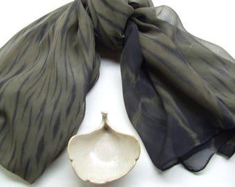 Hand Dyed Silk Chiffon Wrap, Long Scarf, Arashi Shibori Stripe in Black and Camo Green, Army Green