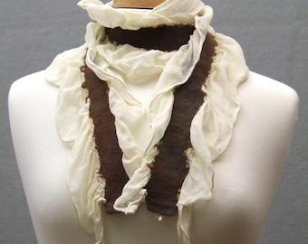 Nuno Felted Scarf, Ivory Silk Chiffon Ruffle w Brown Merino Wool Made to Order