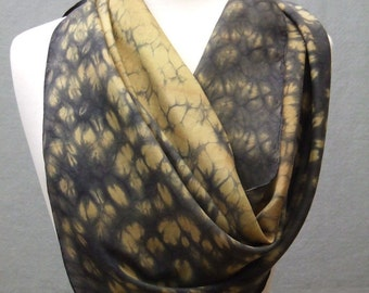 Square Silk Scarf Hand Dyed Shibori Gold Charcoal Gray Made to Order