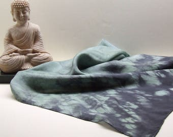 Square Silk Scarf, Hand Dyed Shibori, Herb Green and Black
