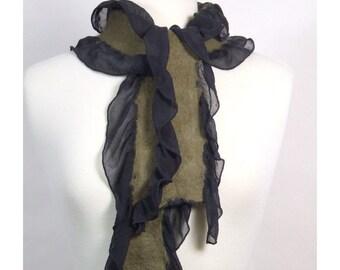 Long Nuno Felted Ruffle Scarf, Hand Felted Khaki Merino Wool on Hand Dyed Silk Chiffon