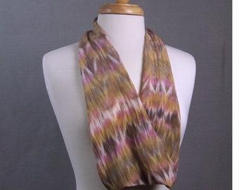 Long Hand Dyed Shibori Silk Crepe Scarf, Pink Rose Gold Brown Purple