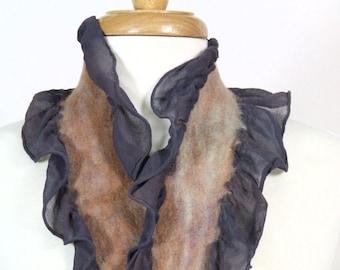 Long Hand Dyed Scarf, Nuno Felted Ruffle, Silk Chiffon, Merino Wool