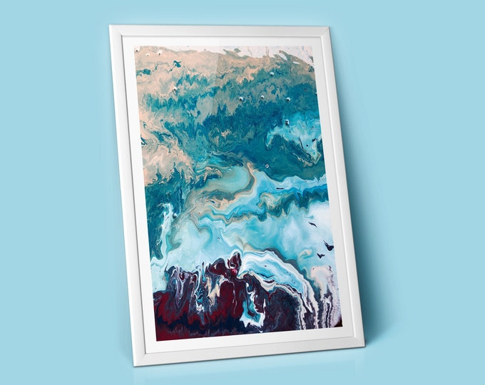 Arctic Fluid Art Print (Unframed)