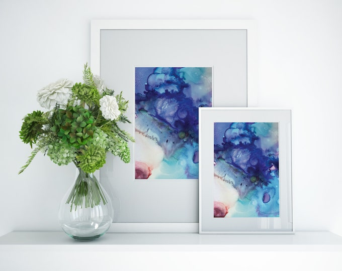 Cobalt Fluid Art Print (Unframed)