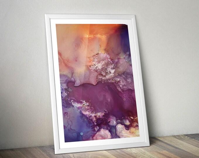 Peachy Keen Fluid Art Print (Unframed)