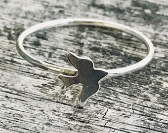 Sterling Silver Sparrow Ring / Simple Sparrow Ring / Thin Minimalist Jewelry / Dainty Ring