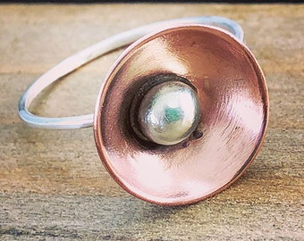 Poppy Ring /  Copper Sterling Silver Ring /Artistic Hand Forged Ring / Statement Ring / Mix Metal Jewelry / Artisan Jewelry