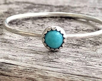 Turquoise Sterling Silver Ring / Dainty Stacking Ring / Turquoise Ring / Simple Gemstone Ring / Gift for her