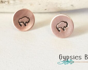 Buffalo Earrings / Hand Stamp Stainless Steel Earrings / Copper Earrings / Dainty Buffalo Studs / Bison Earrings