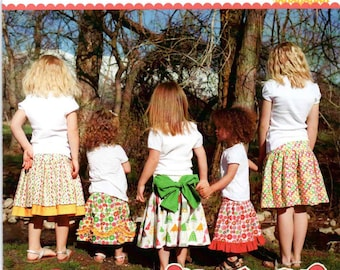 Addie Jo Girls Skirt by designers Izzy & Ivy designs sewing pattern Size 2T to 14