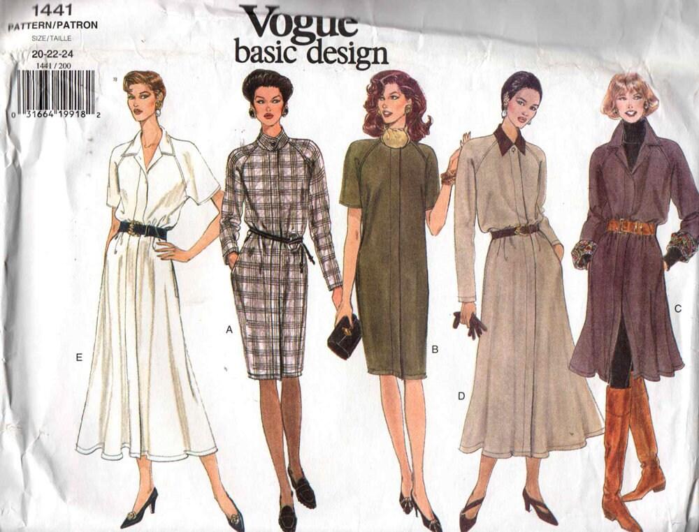 Uncut Vogue 1441 Long Or Short Shirt Dress Sewing Pattern Plus Size