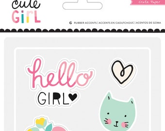 Crate Paper Cute Girl Rubber Accents -- MSRP 5.00
