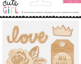 Crate Paper Cute Girl Wood Embellishments -- MSRP 4.00
