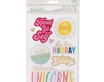 Dear Lizzy Stay Colorful Chipboard Phrase Thickers - Groovy  -- MSRP 5.00
