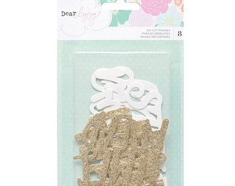 Dear Lizzy Stay Colorful Die Cut Glitter Phrases   -- MSRP 5.00