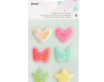 Dear Lizzy Stay Colorful Glitter Resin Shapes  -- MSRP 5.00