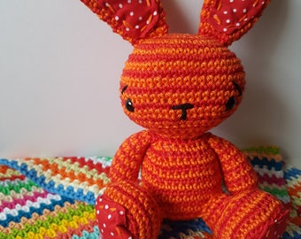 Bunny Rabbit Toy - Crochet soft toy with patchwork feet