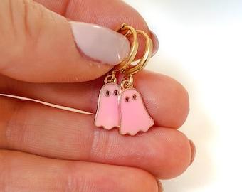 Pink Ghost Earrings, Halloween Earrings, Spooky Earrings, Halloween Jewelry, Cute Ghost Huggie Hoop Earrings, Small hoop earrings