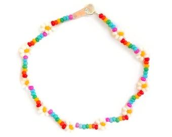 Beaded Rainbow Bracelet, Seed Bead Flower Bracelet, Pride Bracelet, LGBTQ Bracelet, UK Seller