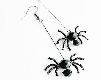 Black Spider Earrings, Dangly Spider Earrings, Halloween Earrings, Beaded Spider Jewellery UK
