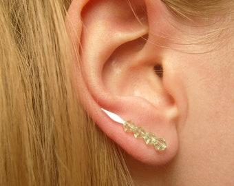 3b0352f38 Green Ear Climbers, Pin Earrings, Green Swarovski Crystal Earrings, Crystal  Jewelry