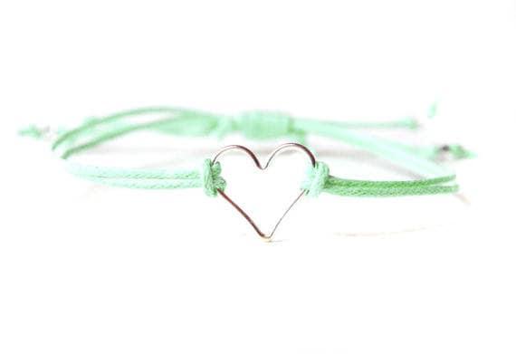Sterling Silver Adjustable Cord Heart Friendship Bracelet Handmade 21 Colours