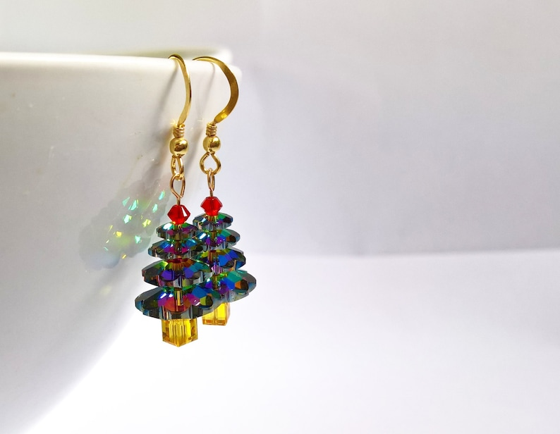 Swarovski Christmas Tree Earrings Handmade Christmas image 0