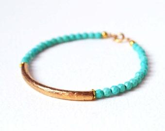 Gold Bar Bracelet, Turquoise Bead Bracelet, Turquoise and Gold, Friendship Bracelet UK