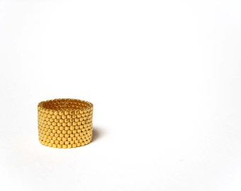 24K Gold Plated Ring: Seed Beaded Ring, Alternative Wedding Band, Beaded Jewelry, under 40