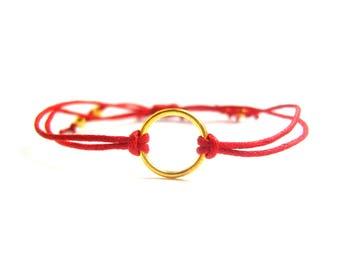 Red Eternity Bracelet, Gold Eternity Hoop Bracelet, Red String Bracelet, Friendship Bracelet, UK Seller