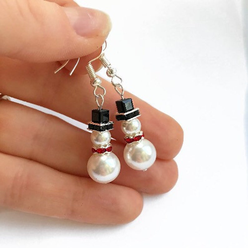 Swarovski Snowman Earrings Novelty Christmas Earrings image 0