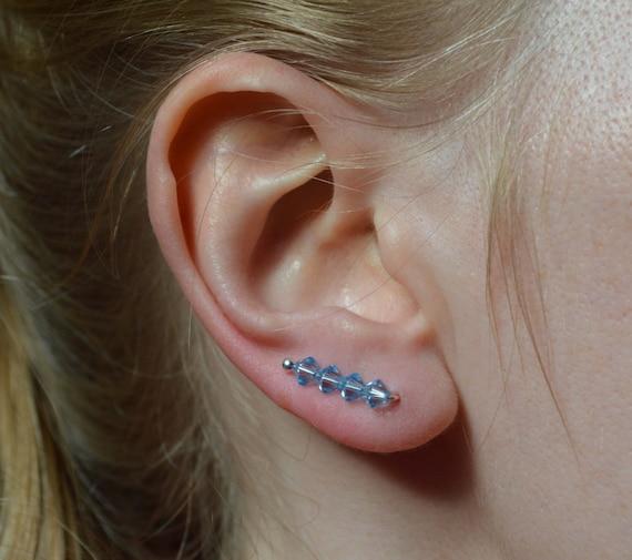 65ec62d1b Swarovski Ear Climber Blue Pin Earrings Crystal Ear Pins UK | Etsy