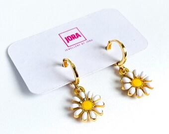 Daisy Earrings, Mini hoops, White Flower Earrings, Huggie Hoops, UK Gifts Under 15