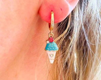 Ice Cream Earrings, Novelty Food Earrings, Kawaii Jewelry, UK Gifts Under 15