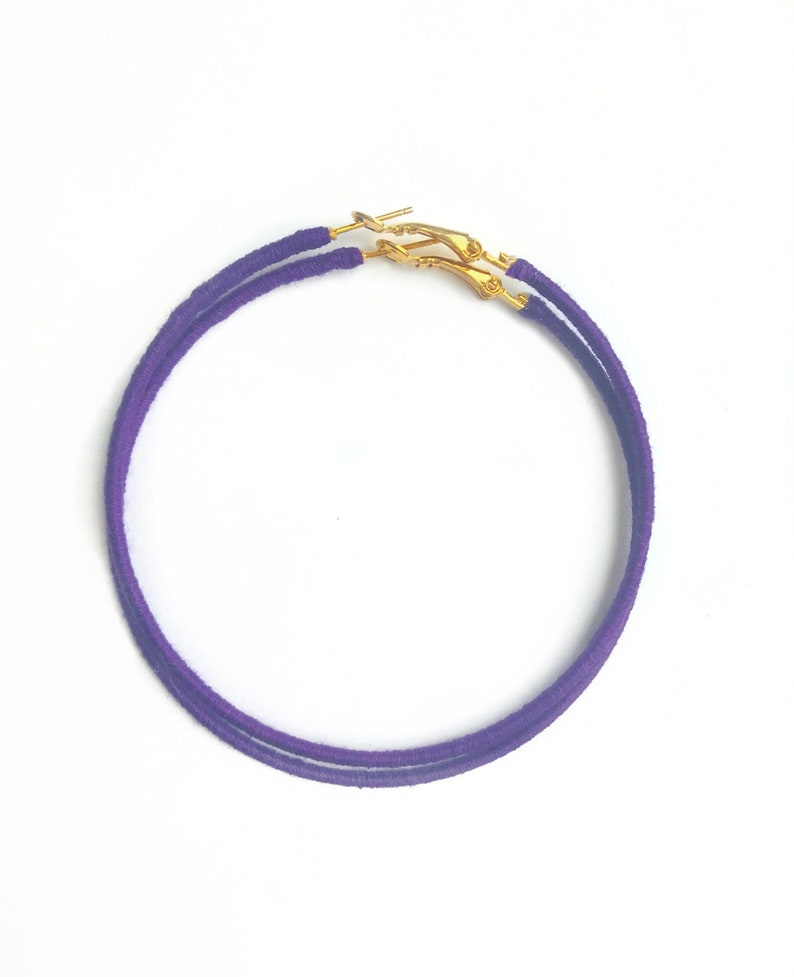 Purple Hoop Earrings Extra Large Hoops Bright Purple Hoops image 0