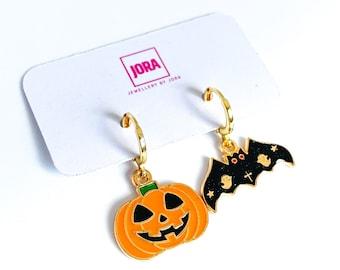 Halloween Earrings, Pumpkin and Bat Spooky Earrings, Halloween Jewelry, Mismatched Earrings, UK Gifts Under 15