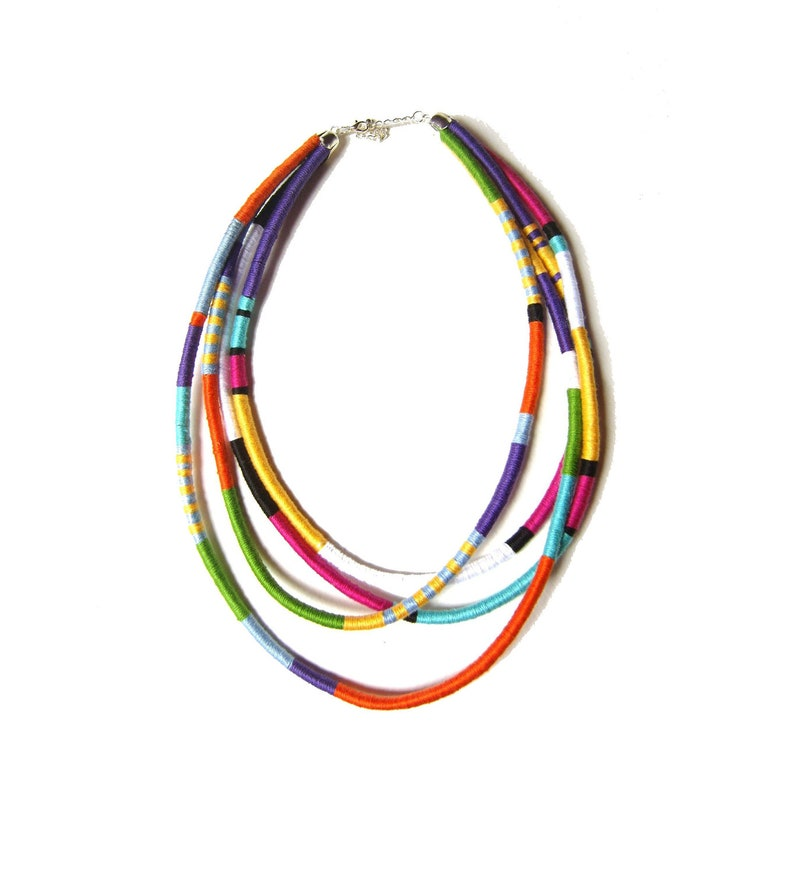 Statement Necklace Tribal Necklace Thread Wrapped Necklace image 0
