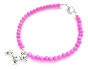 Sausage Dog Bracelet, Pink Dachshund Bracelet, Fuchsia Weiner Dog Jewelry, UK Seller