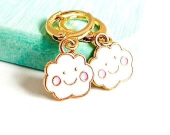 Cloud Earrings, Kawaii Earrings, Huggies Earrings, Novelty Earrings, Korean Earrings, UK Gifts Under 15
