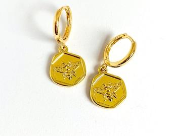 Gold Bee Earrings, Insect Earrings, Huggie Hoop Earrings, UK Seller, Stocking Filler Idea, Under 20