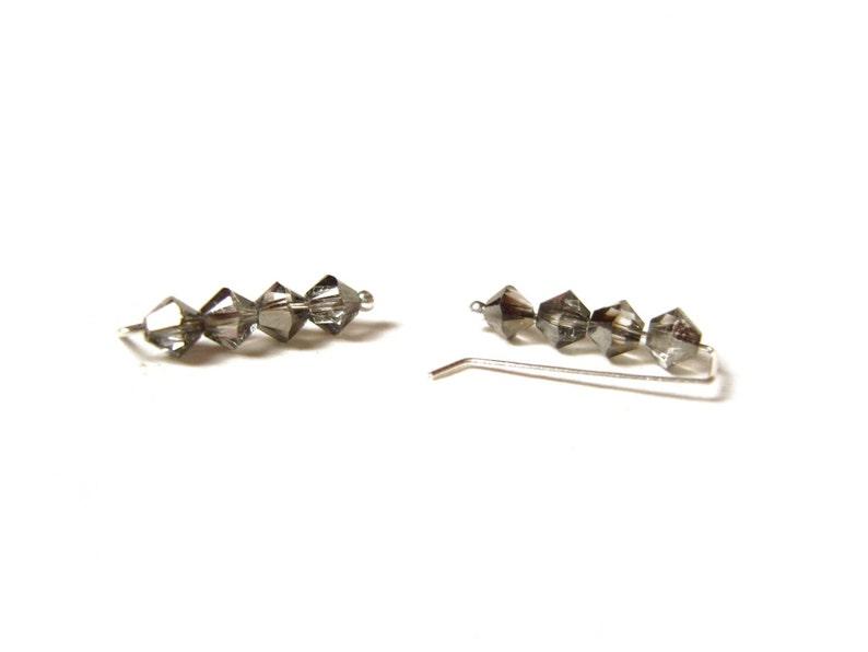 b2c6177e6 Swarovski Pin Earrings Dark Grey Ear Climbers Crystal Ear | Etsy