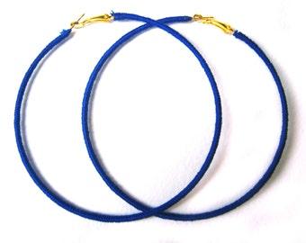 Royal Blue Earrings, Blue Hoop Earrings, Extra Large Hoops, Fashion Earrings UK