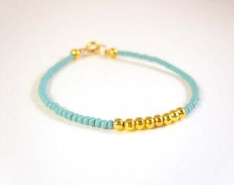 Childrens Bracelet, Girls Beaded Bracelet, Flower Girl Bracelet, Turquoise Girls Jewelry UK
