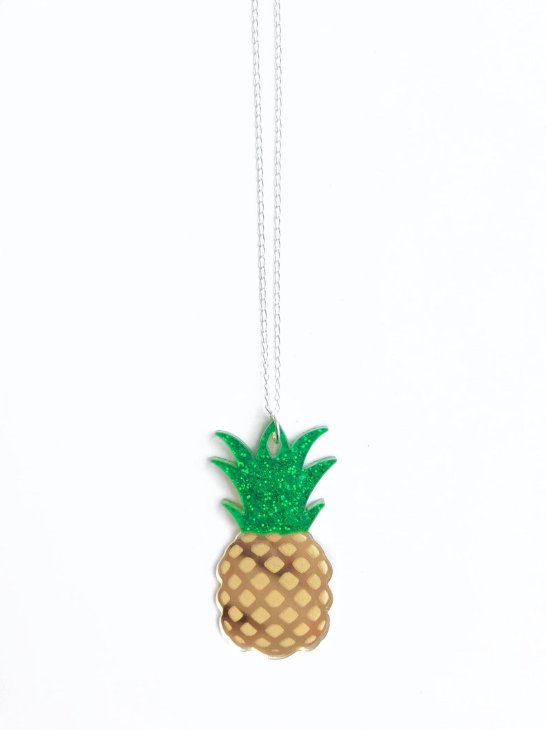 Large Pineapple Pendant Necklace Gold Pineapple Necklace image 0